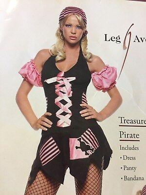 PIRATE Costume M/L Leg avenue  4pcs Dress Panty Bandana Stockings Halloween USA - Halloween Pirate Bandana