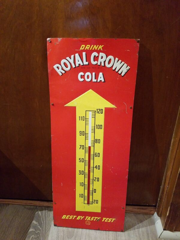 Vintage Embossed Drink Royal Crown Cola RC Cola Tin Thermometer Sign Marked 139