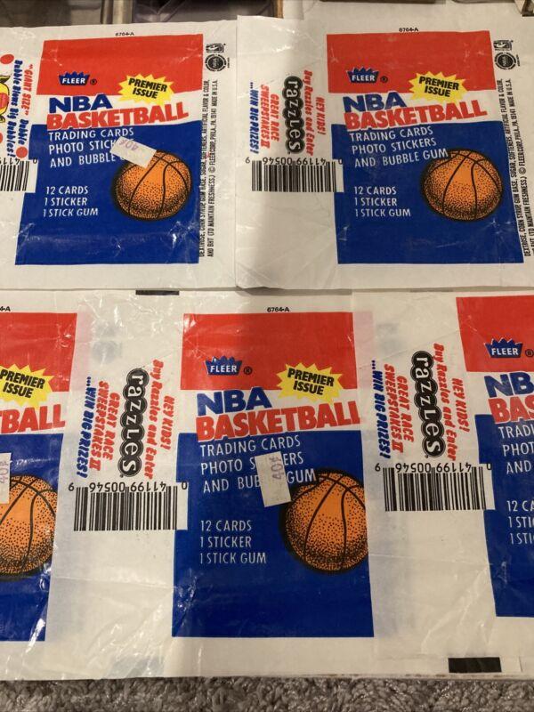 1986-87 Fleer Basketball ( 5 ) FIVE Wax Pack WRAPPERS!! MJ RC YR.!!! LOOK!!🔥🔥