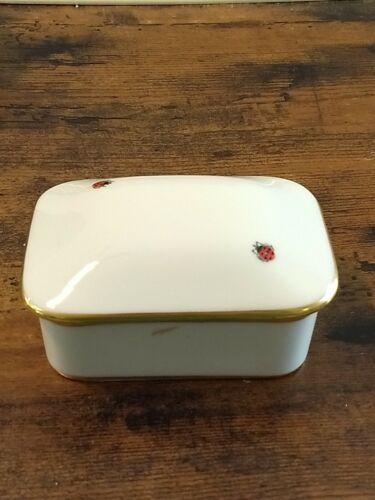 Vintage Limoges FM Trinket Jewelry Box Ladybug - 3 Backstamps