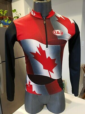 LOUIS GARNEAU 1/4 Zip Long Sleeve Bike Racing Cycling Jersey Small Canadian - Canadian Bike Jersey