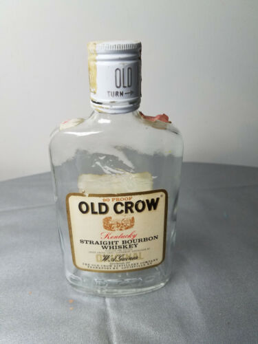 VINTAGE OLD CROW KENTUCKY BOURBON WHISKEY 1/2 PT BOTTLE FRANKFORT LOUISVILLE