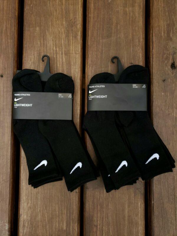TWO 6 PACKS (12 PAIRS) Nike Crew Socks Black Dri-Fit Boys Size 7c-10c 4-5 Years