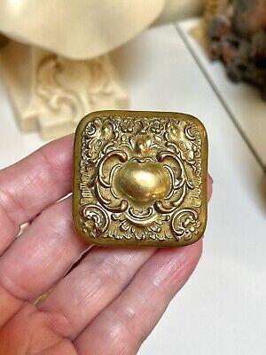 Antique Ornate Gold Metal Repoussé Stamp Box
