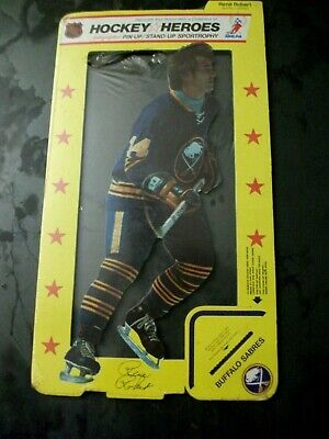 VINTAGE 1975 HOCKEY HEROES CUT OUT STAND UP BUFFALO SABRES RENE ROBERT, RARE - Stand Up Cut Out