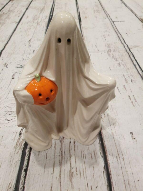 Vintage Halloween 1980s Ceramic Ghost Collectors Pumpkin