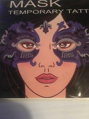 Krewe Of Iris Mask Temp Tattoo New Orleans Mardi Gras](Mardi Gras Tattoos)