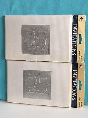 Vintage 25th Silver Wedding Anniversary Celebration 16-ct Invitations by GIBSON (25th Wedding Anniversary Invitations)