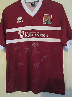 Northampton 2013-14 Squad Signed Home Football Shirt BNWOT with club loa /39537 image