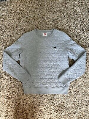Lacoste LIVE Mens Size 4 Grey Long Sleeve Pullover Diamond Quilted Sweater