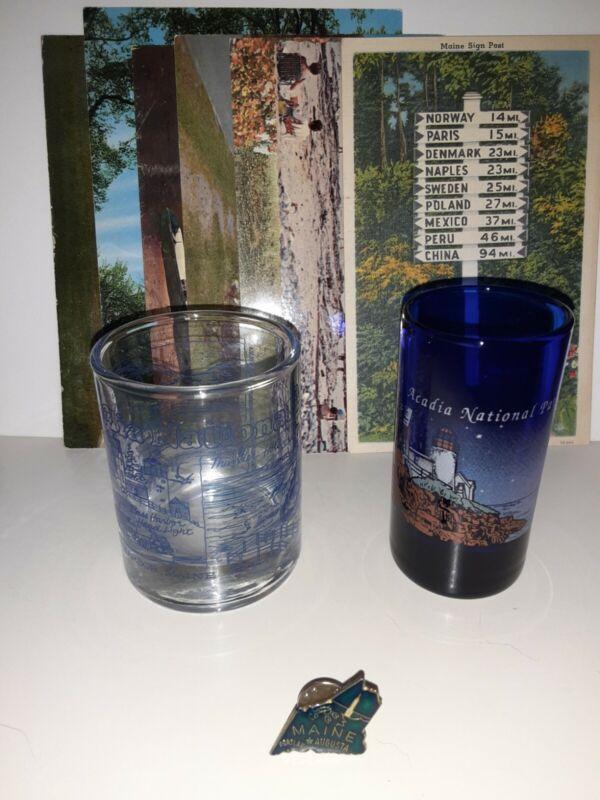 Maine Lot Acadia National Park 2 Shot Glasses 5 Postcards 1 Pin