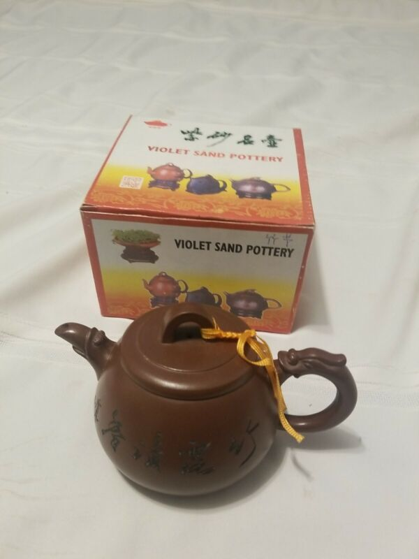 Violet Sand Pottery, Yixing Clay?, New in Box, Nice Teapot, Dragon Handle?