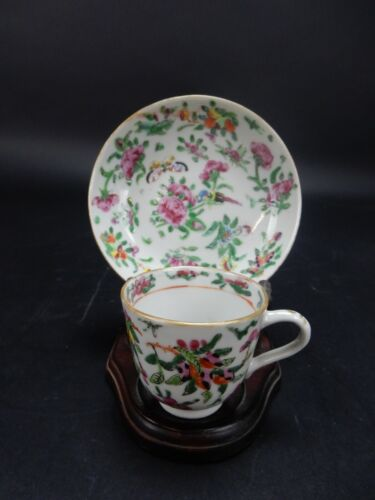 Antique Chinese Export Famille Rose cup and saucer circa 18th century