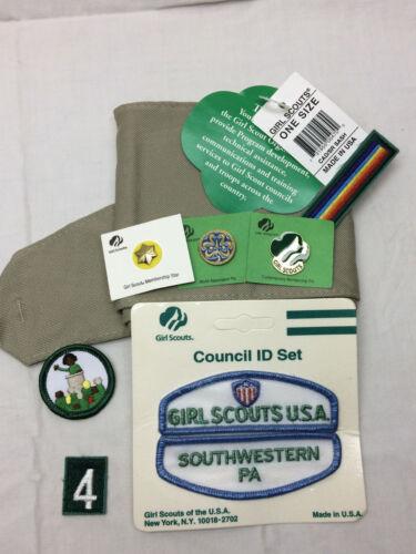 Vintage Girl Scout Uniform Accessory Lot Sash Patches Pins Badges SW Pa