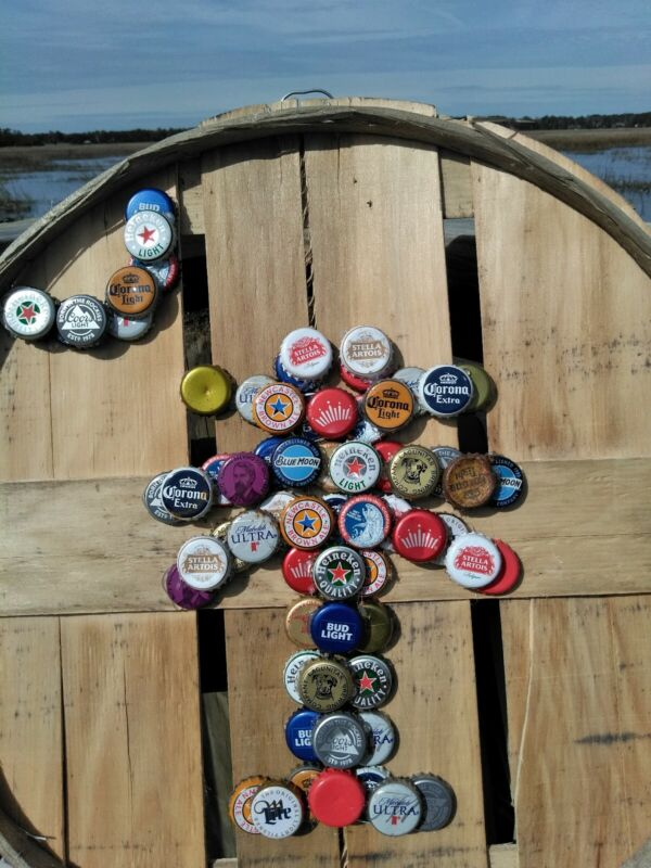 Palmetto Tree & Moon Mixed Beer Bottle Cap Art SC State Symbol Handcrafted Crab