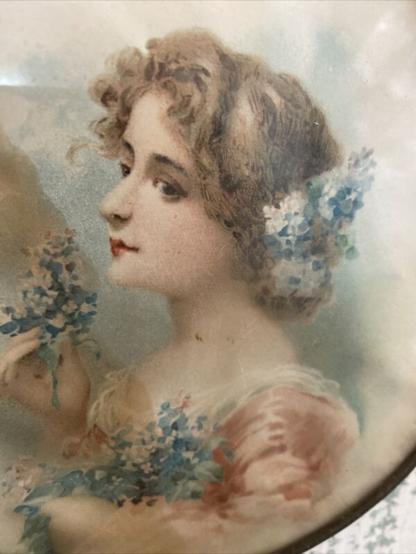 """ANTIQUE CHIMNEY FLUE COVER 6"""" Tattered Beauty Blue Hydrangea Pink Dress As Found"""