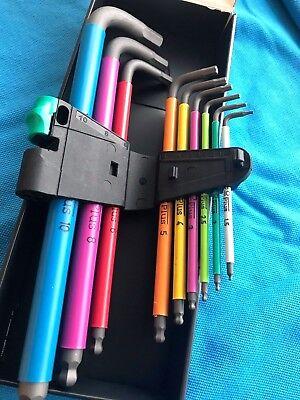Wera Tools Colour Hex Allen Key Set Extra Long 1.5mm - 10mm Boxed And Clip