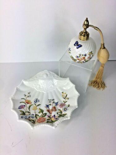 Aynsley Bone China Dish & Perfume Atomizer Cottage Garden