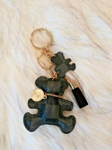 Luxury Fashion Leather KeyChain , Pendant/ Charm Handbag Grid Checker Teddy Bear