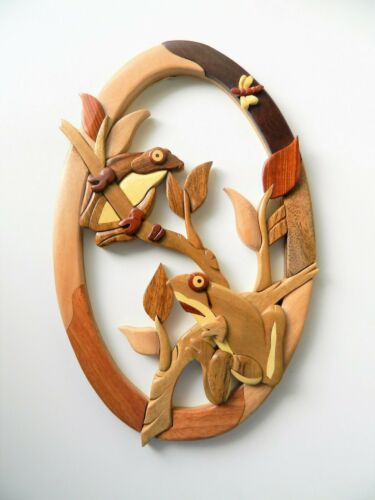 Tree Frog Intarsia Wood Oval Wall Art Home Decor New