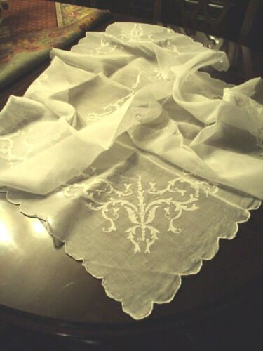 """Antique embroidered square Tablecloth with 4 matching Tea Napkins  40""""X 40"""""""
