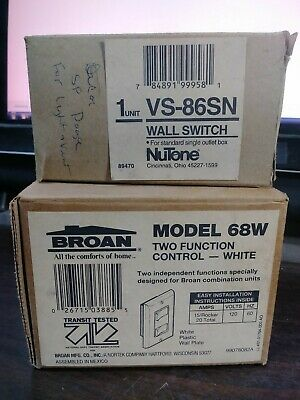 Lot Of 2 Double Rocker Combo Switches With Wallplates New In Box Broan Nutone