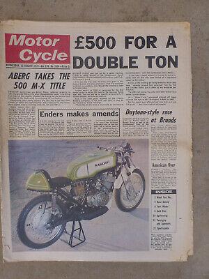 UK MOTOR CYCLE NEWS 'PAPER' 1970 AUG 12th- H1R KAWASAKI