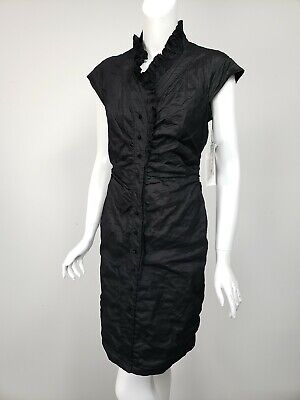 ETCETERA Black Crinkled Taffeta Ruffle Trim Button Shirt Dress sz 8 NWT