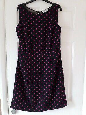 Jonathan Saunders/Edition size 16 Black and fushia polka dot fit-n-flare dress,