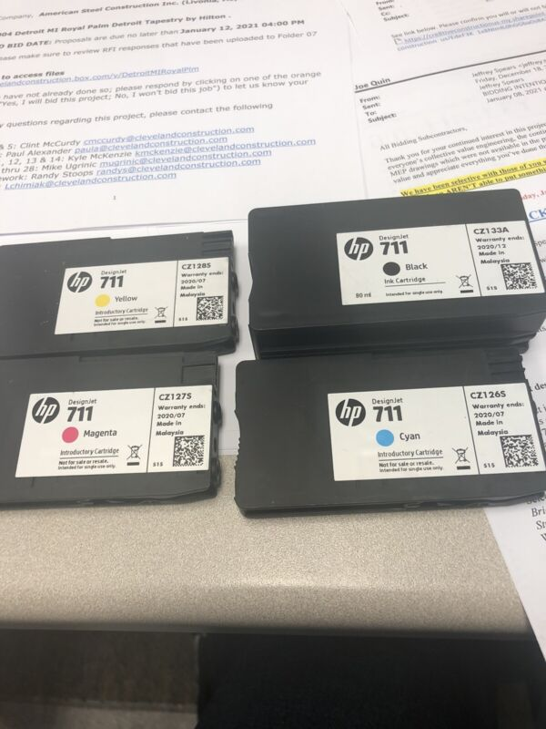 4 Used Hp 711  Color And Black Design Jet Ink Cartridge Empty Refill