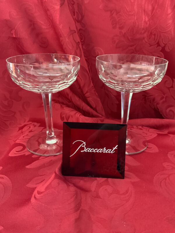 Near FLAWLESS Unique BACCARAT France 2 PALERME Crystal CHAMPAGNE SHERBET Glasses