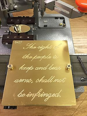 Brass Engraving Plate For New Hermes Font Tray 2nd Amendment Gun Firearms