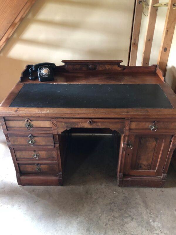 Antique English Walnut Leather Top Desk