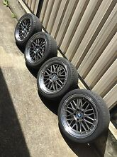"""LM STYLE BMW wheels 18"""" + NEAR NEW TYRES - E46 fitment Kingsgrove Canterbury Area Preview"""