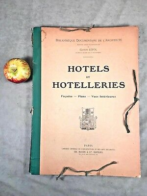Antique Folio Architecture Drawings Plans FRENCH HOTELS Paris Facades Interiors