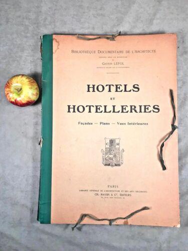 Antique Folio Architecture Drawings Plans FRENCH HOTELS Paris Facades Interiors