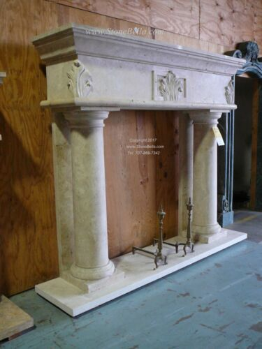 ABSOLUTELY STUNNING - MASSIVE Hand carved Travertine Mantel Column Stone Mantle