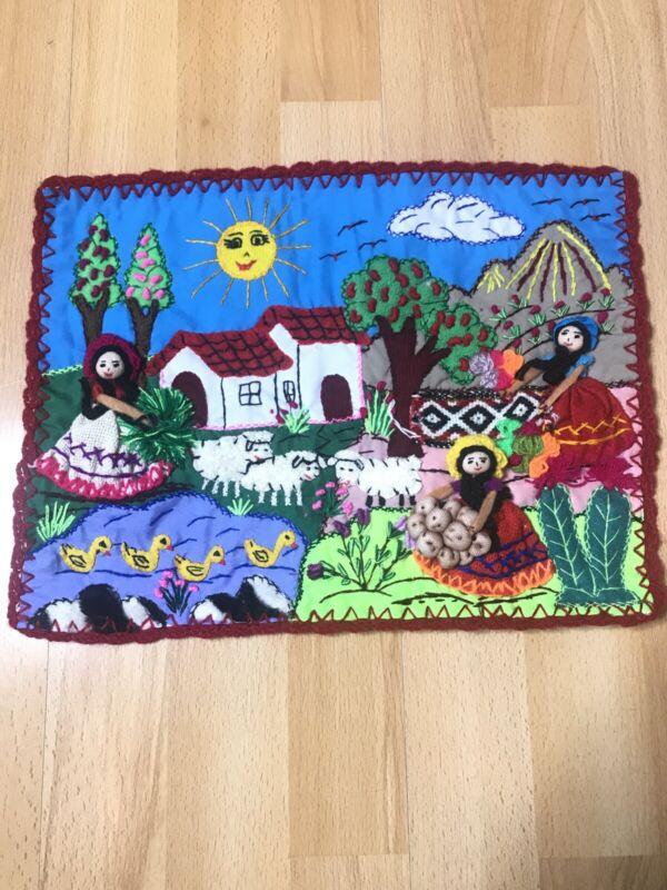 """Applique Quilt wall Mural 13""""x10"""" Arpillera-3D Hand Embroidered Peruvian Village"""