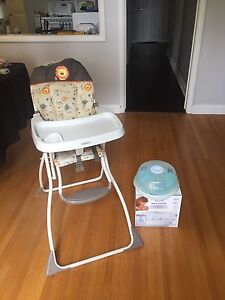 Cosco high chair and avent strelizer