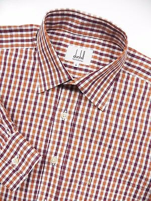 ALFRED DUNHILL MENS LARGE LUXURY SPORT SHIRT STYLISH ORANGE PLUM WHITE CHECK LUX