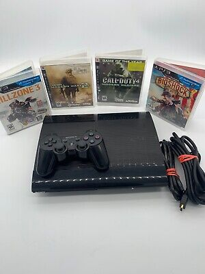 Sony Playstation Super Slim 250gb PS3 console, 1 controller, 4 Games Tested