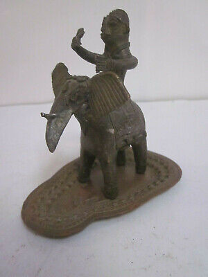 ANTIQUE THAI ASIAN CASTED BRONZE MAN ON ELEPHANT FIGURINE STATUE W/UNDER PLATE