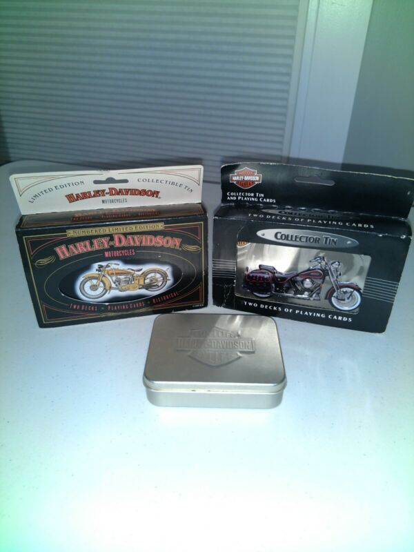 Harley Davidson Collector Tins With Playing Cards - Lot Of 3