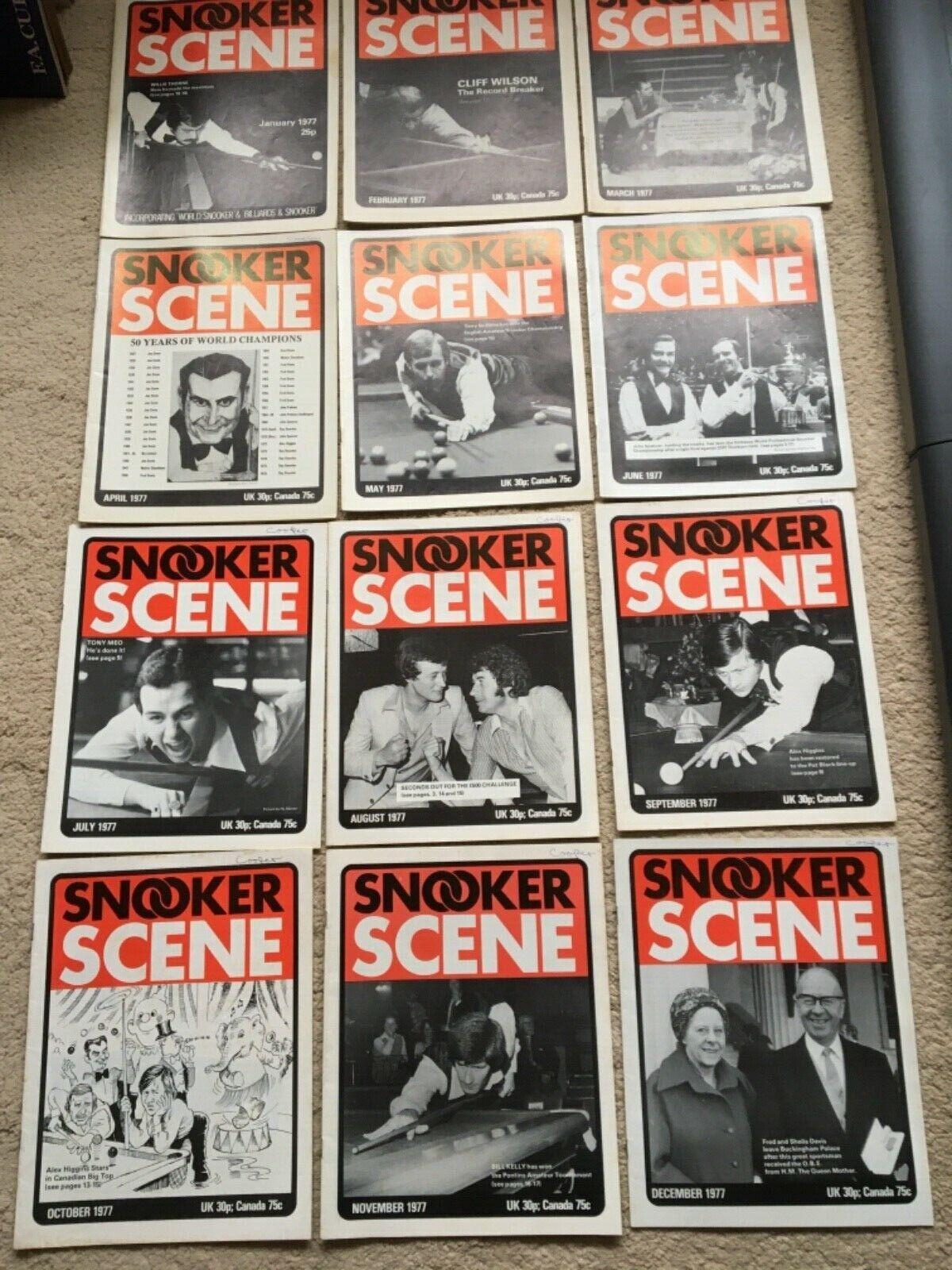1977 Snooker Scene Magazine, complete year,  Good Condition.