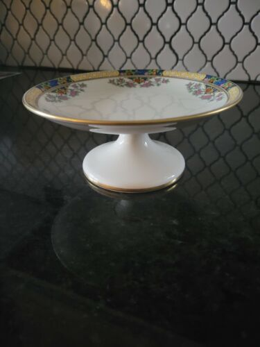 """LENOX RARE """"THE ORCHARD"""" PATTERN FOOTED COMPOTE DISH (3 GOLD RINGS)"""