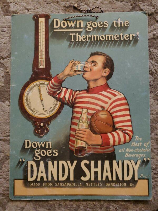 """Antique Down Goes """"Dandy Shandy"""" Cardboard Soda Sign"""