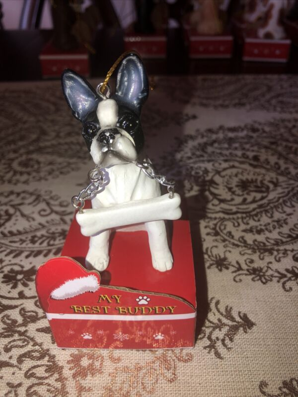 Boston Terrier Christmas Ornament, Personalize, New
