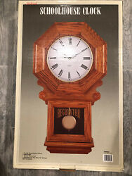 Vintage Sunbeam Schoolhouse Wall Clock Regulator Pendulum Oak Wood Quartz 9Face