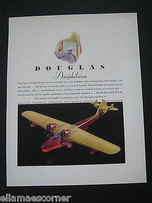 Vintage 1930s Douglas Amphibion Airplane Original Color Print Ad