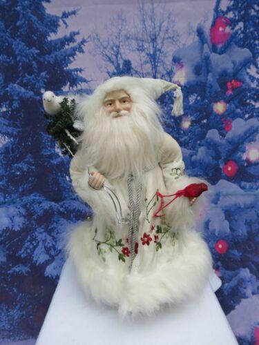 Beautiful Santa Figurine With Birds & Embroidered White Coat/Jacket-Cardinal